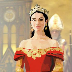 Dessin illustration de Mary Stuart reine d'ecosse dans la série Reign